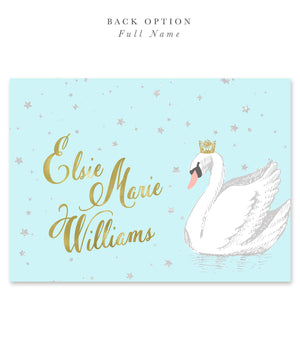 Elsie Swan Princess: Birthday Party Invitation for Girl. Light Blue, Gold Crown, Stars