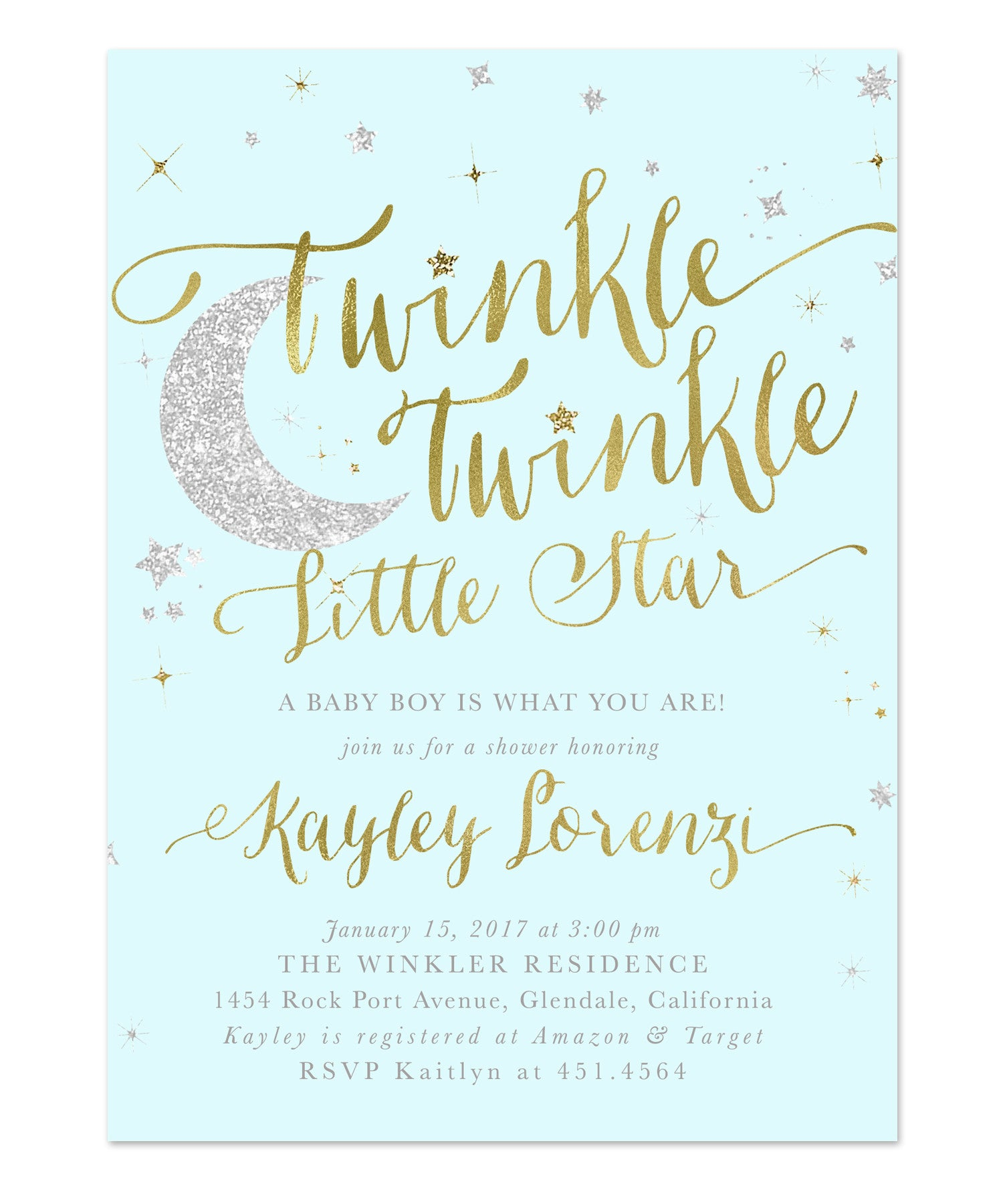 Twinkle Twinkle Little Star Boy Baby Shower Invitation
