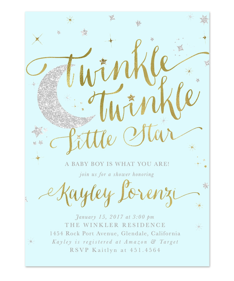Twinkle Twinkle Little Star Boy Baby Shower Invitation {Blue}