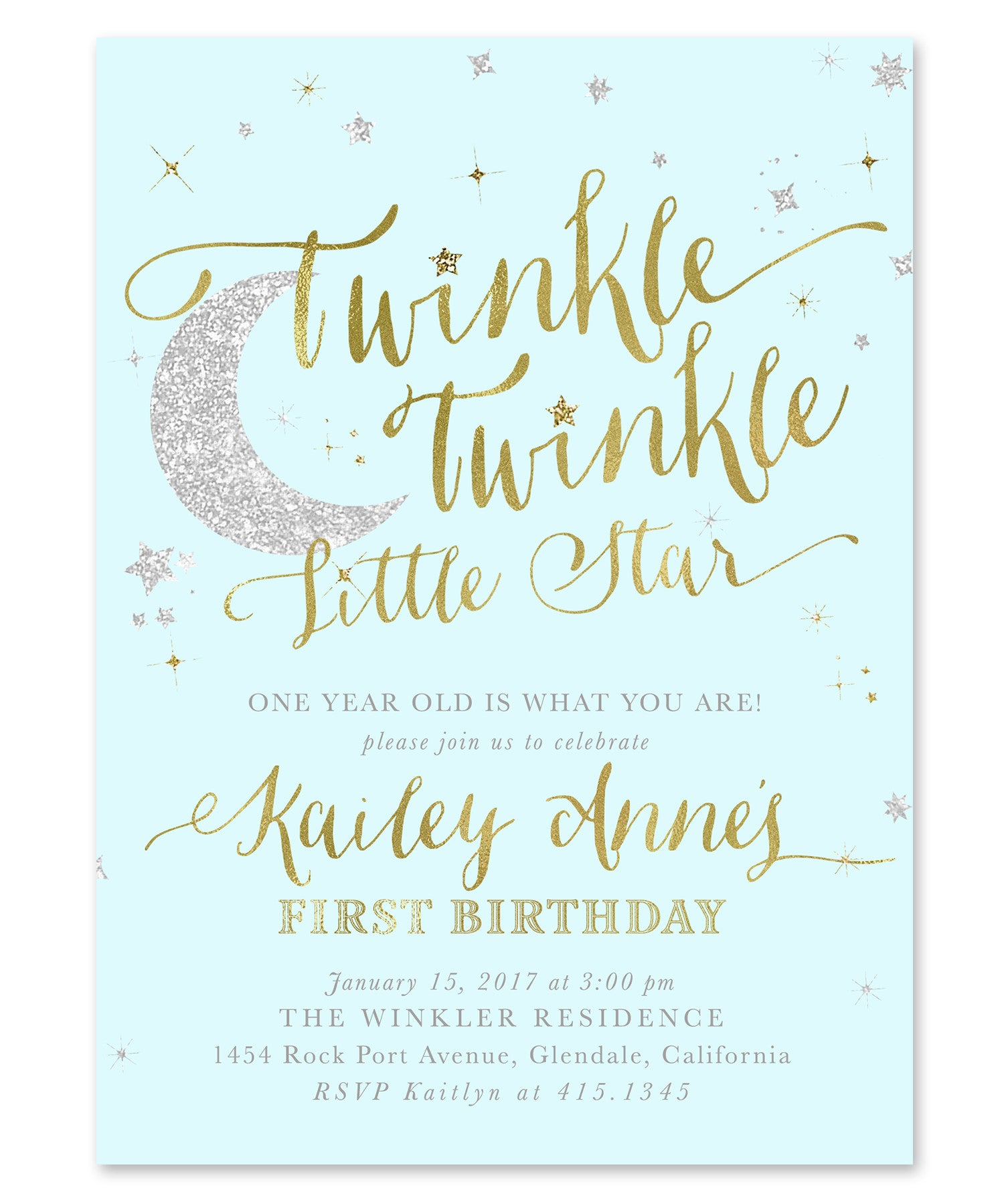 Twinkle Little Star Boy Birthday Invitation