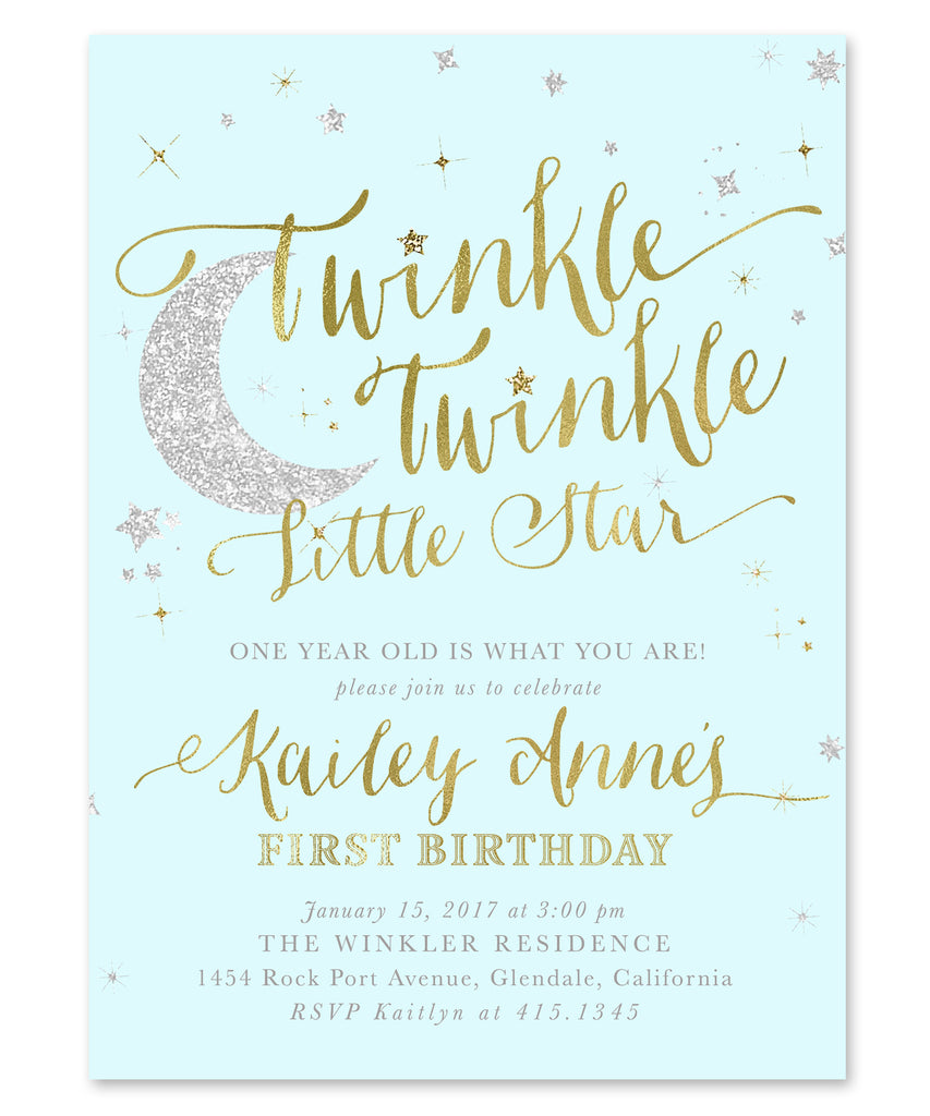Twinkle Twinkle Little Star Boy Birthday Invitation {Blue}