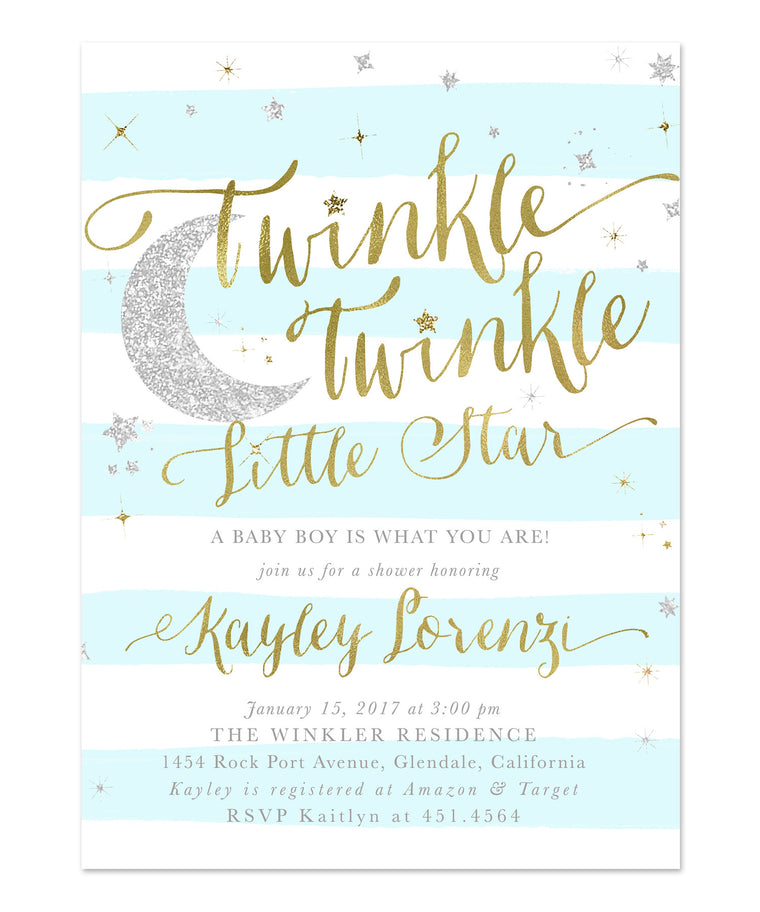 Twinkle Twinkle Little Star Boy Baby Shower Invitation {Blue Stripes}