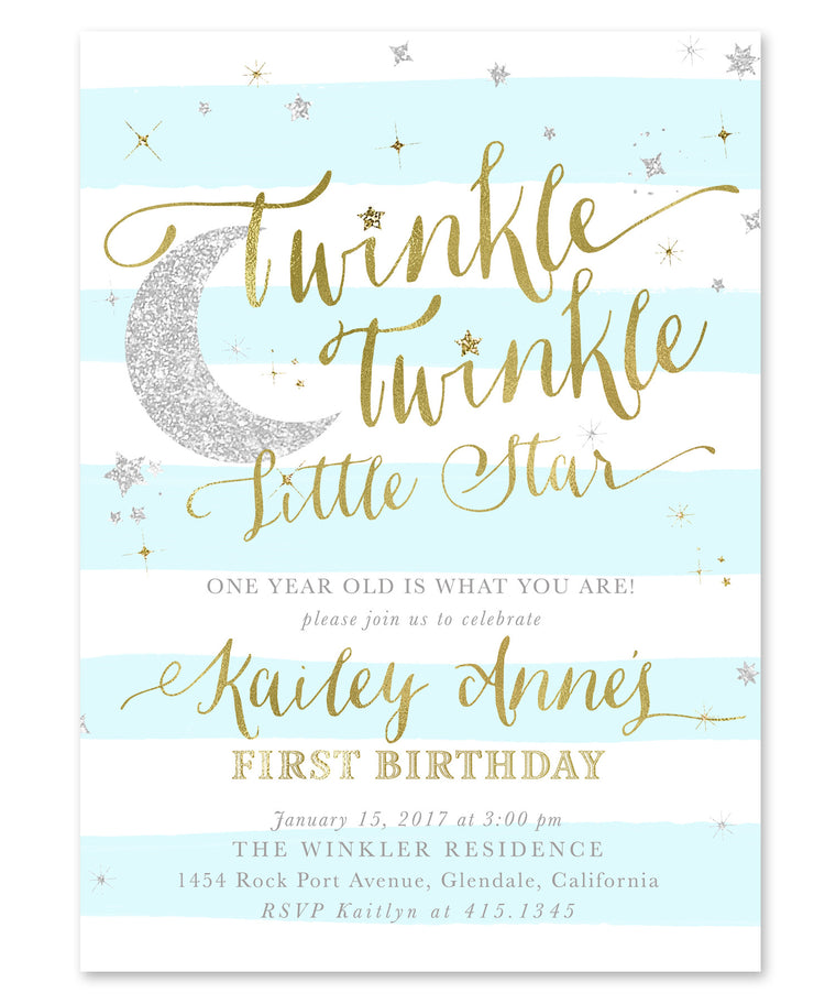 Twinkle Little Star Boy Birthday Invitation {Blue Stripes}