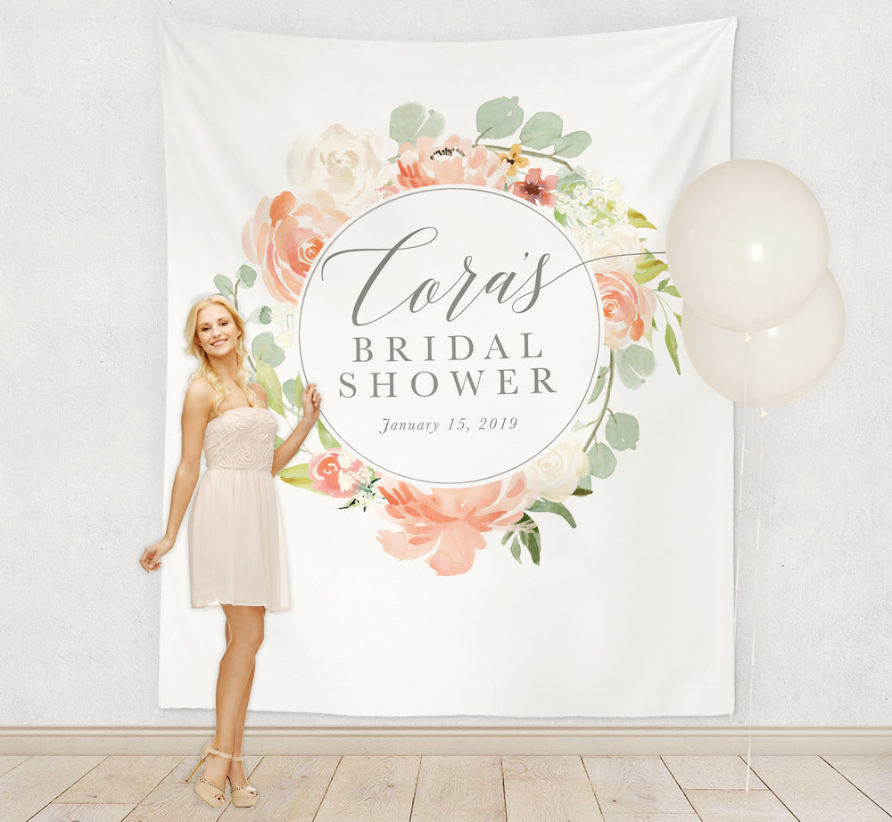 Cora: Peach & White Florals Backdrop