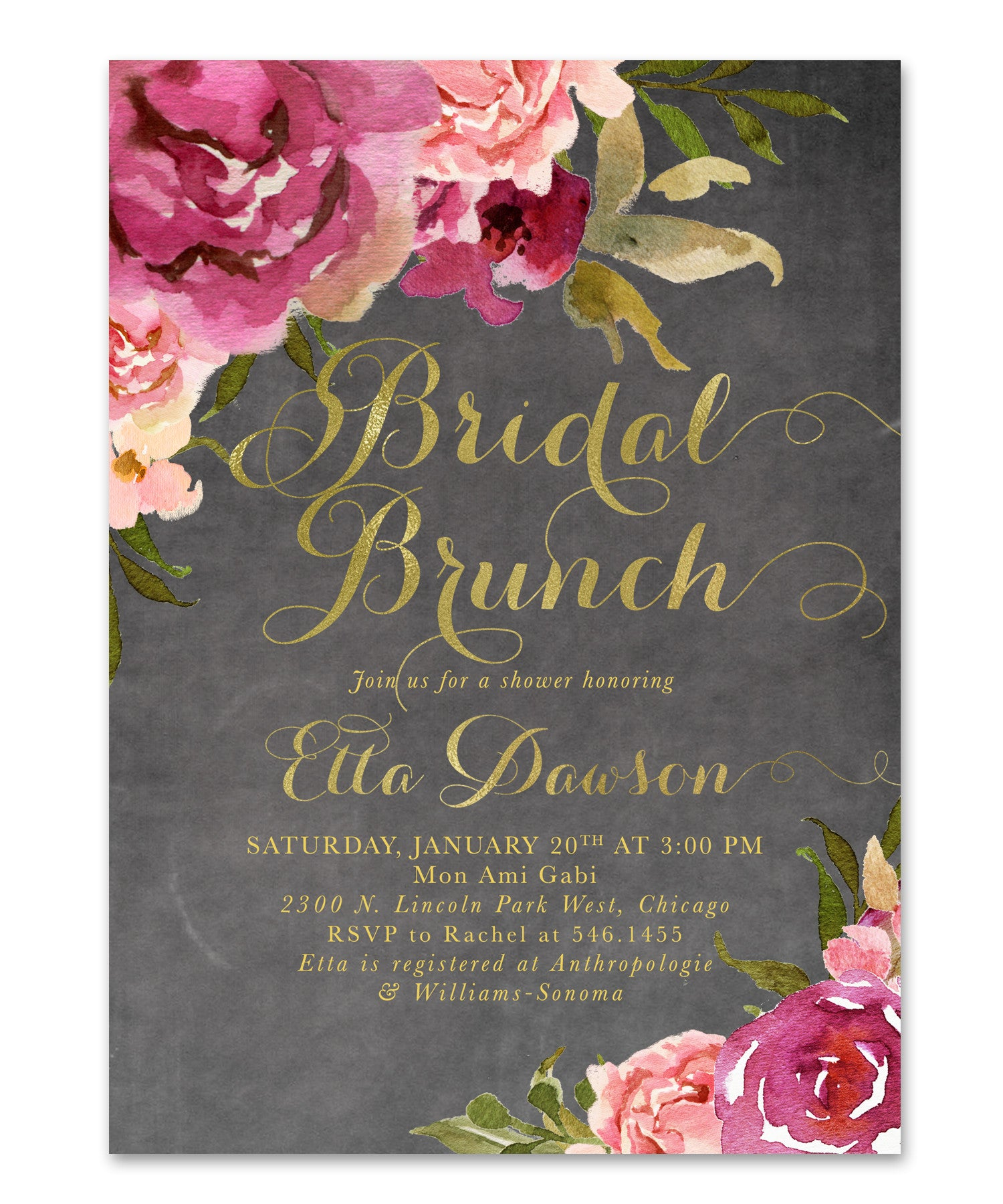 etta bridal shower brunch invitation burgundy blush pink gold chalkboard floral