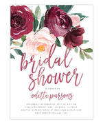 Odette: Bridal Shower Invitation, Burgundy, Blush Pink Florals, Greenery & Marsala