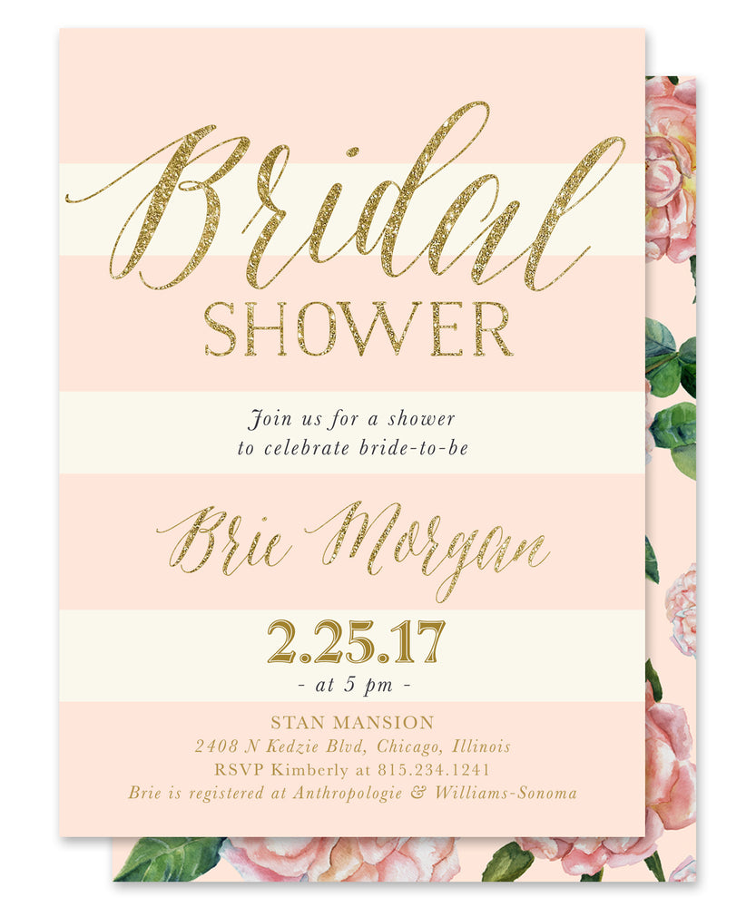 Brie: Bridal Shower Invitation {Blush Pink Roses, Pink & Ivory Stripes, Gold}
