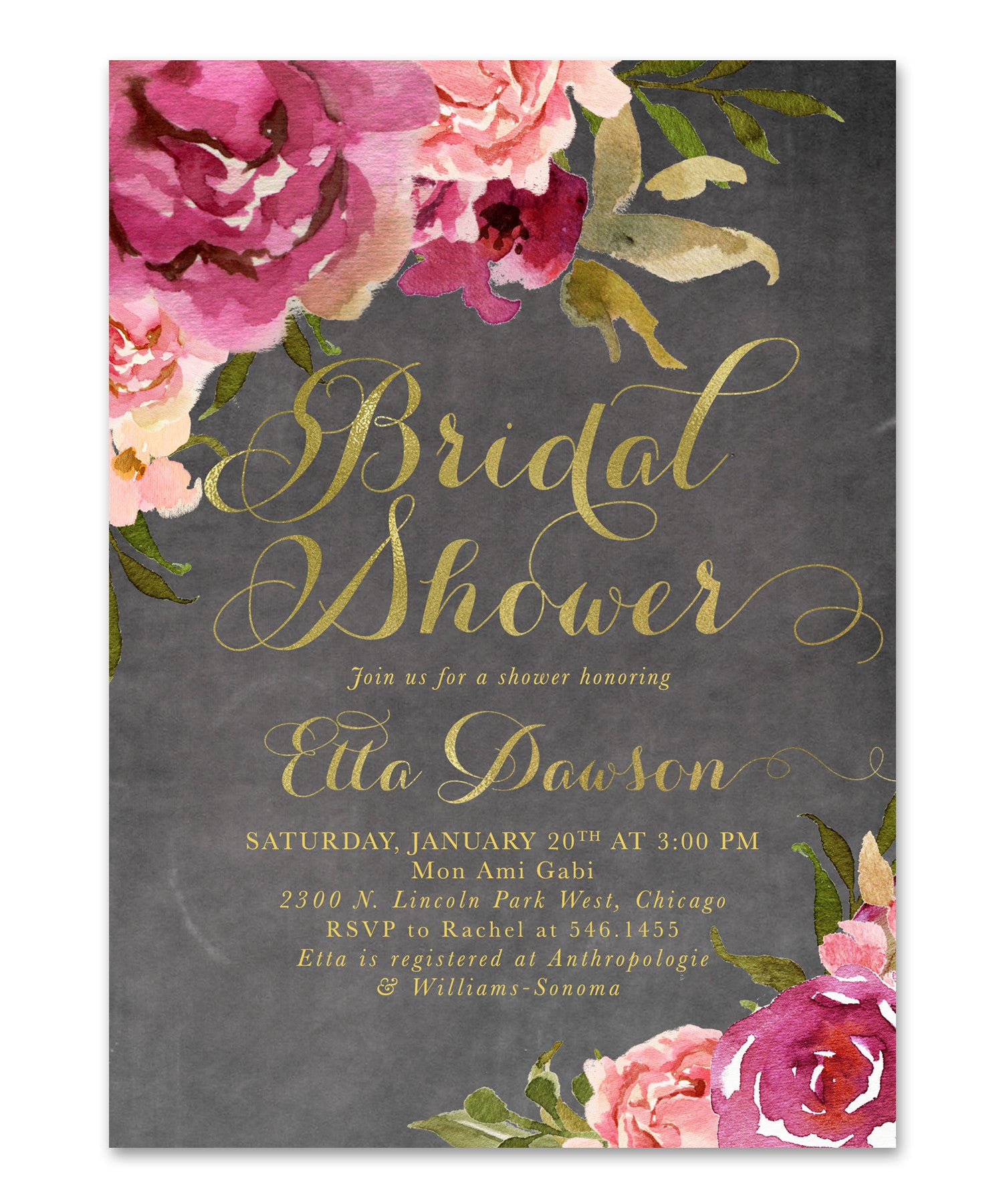 etta bridal shower invitation burgundy blush pink gold chalkboard floral