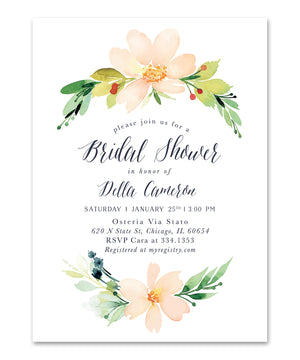 Della: Bridal Shower Invitation, Peach and Navy Floral Invite