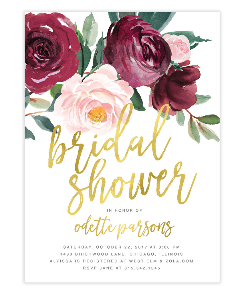 Odette: Bridal Shower Invitation, Burgundy, Blush Pink Florals, Greenery & Gold