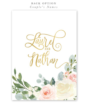 Laurel: Floral Wreath Bridal Shower Invitation {Pink & Gold}