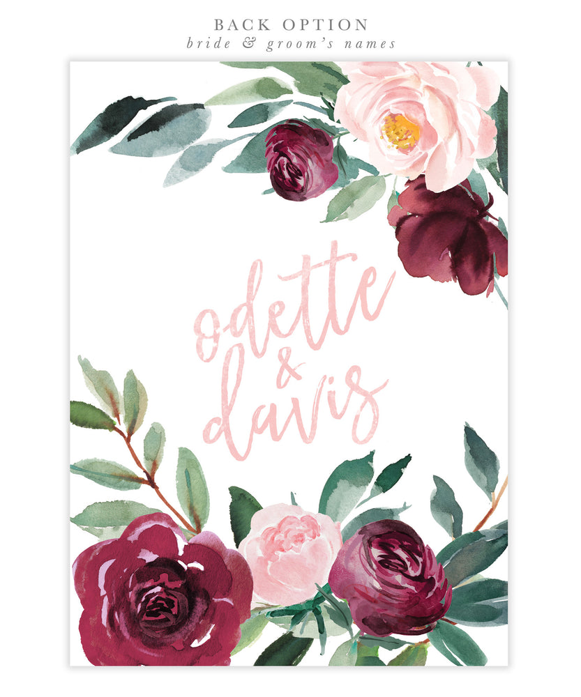 Odette: Bridal Shower Invitation, Burgundy, Blush Pink Florals & Greenery
