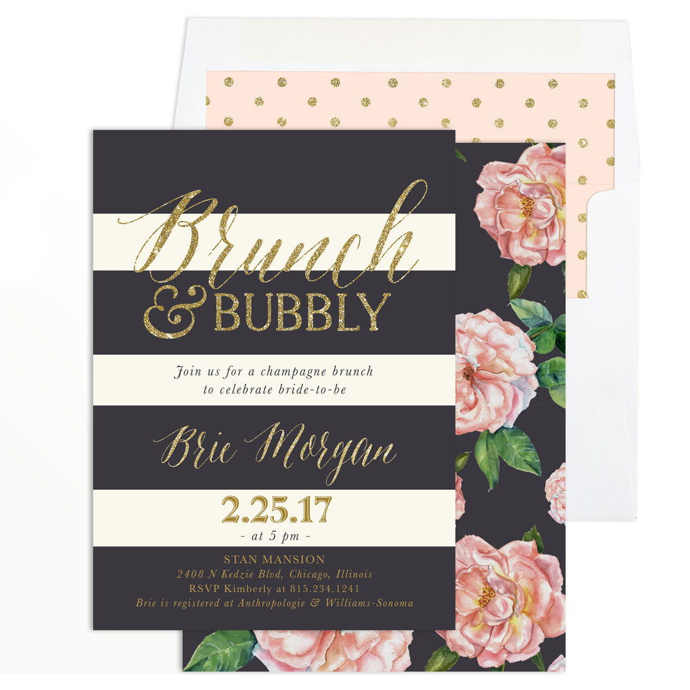 Brie: Bridal Brunch & Bubbly Invitation {Blush Pink Roses, Charcoal Grey & Gold}