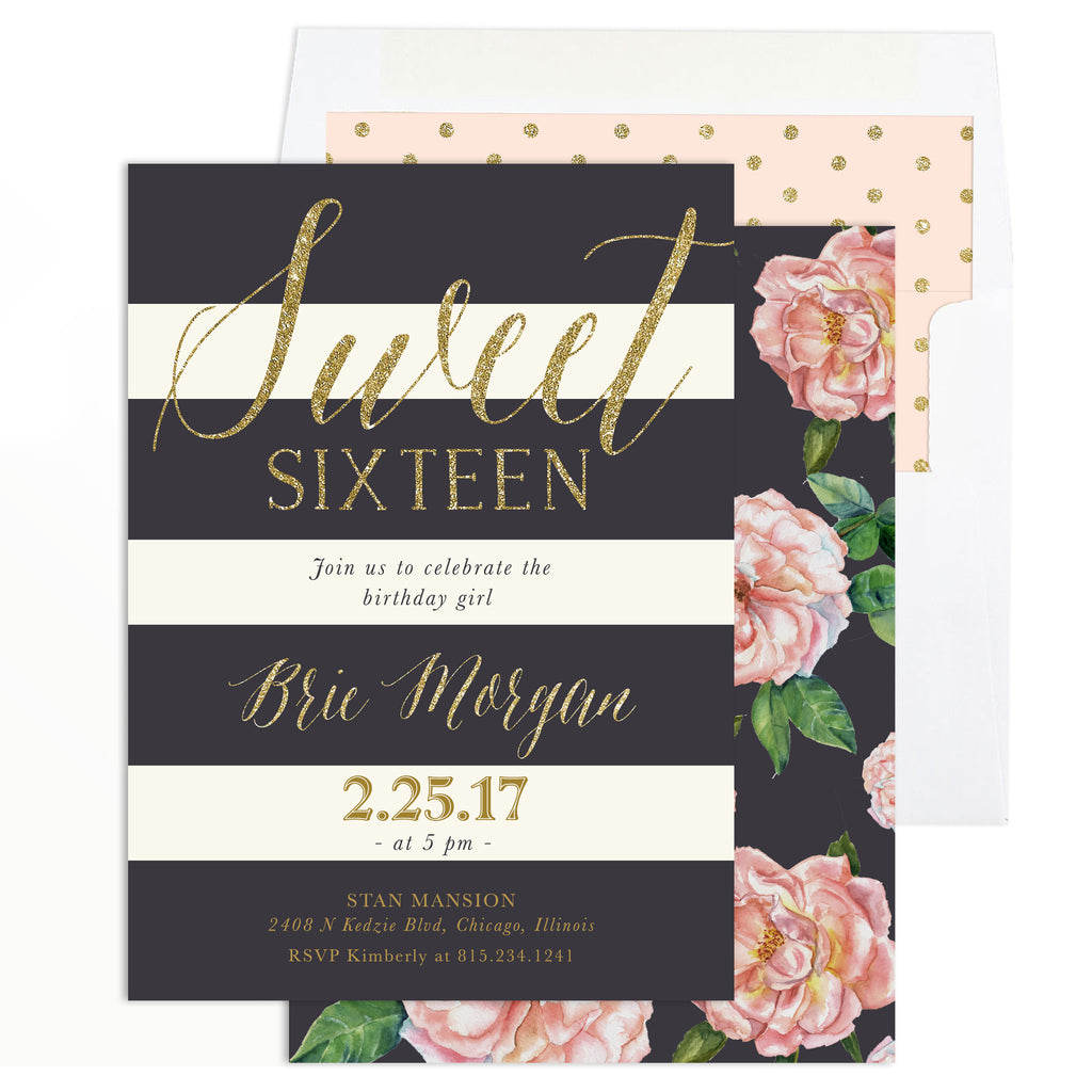Brie: Sweet Sixteen Birthday Invitation {Blush Pink Roses, Charcoal Grey & Gold}