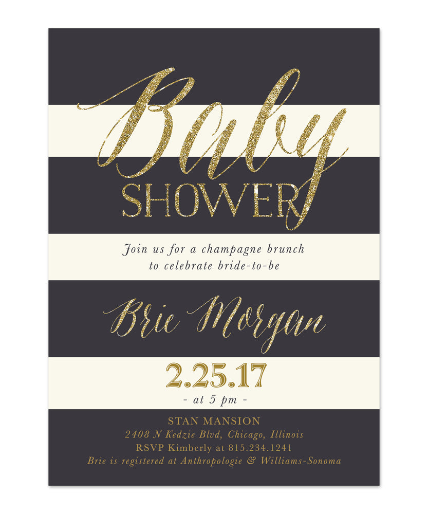 Brie: Baby Shower Invitation {Blush Pink Roses, Charcoal Grey & Gold}