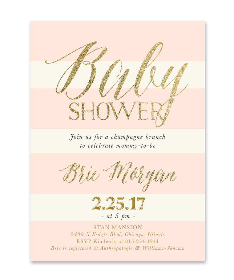 Brie: Baby Shower Invitation {Blush Pink Roses, Charcoal Grey & Ivory Stripes, Gold}