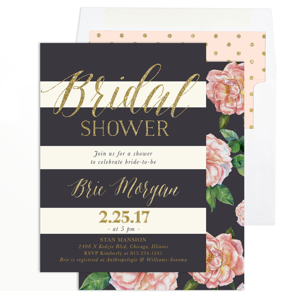 Brie: Bridal Shower Invitation {Blush Pink Roses, Charcoal Grey & Gold}