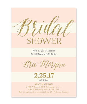 Brie: Bridal Shower Invitation {Blush Pink Roses, Dark Grey & Ivory Stripes, Gold}