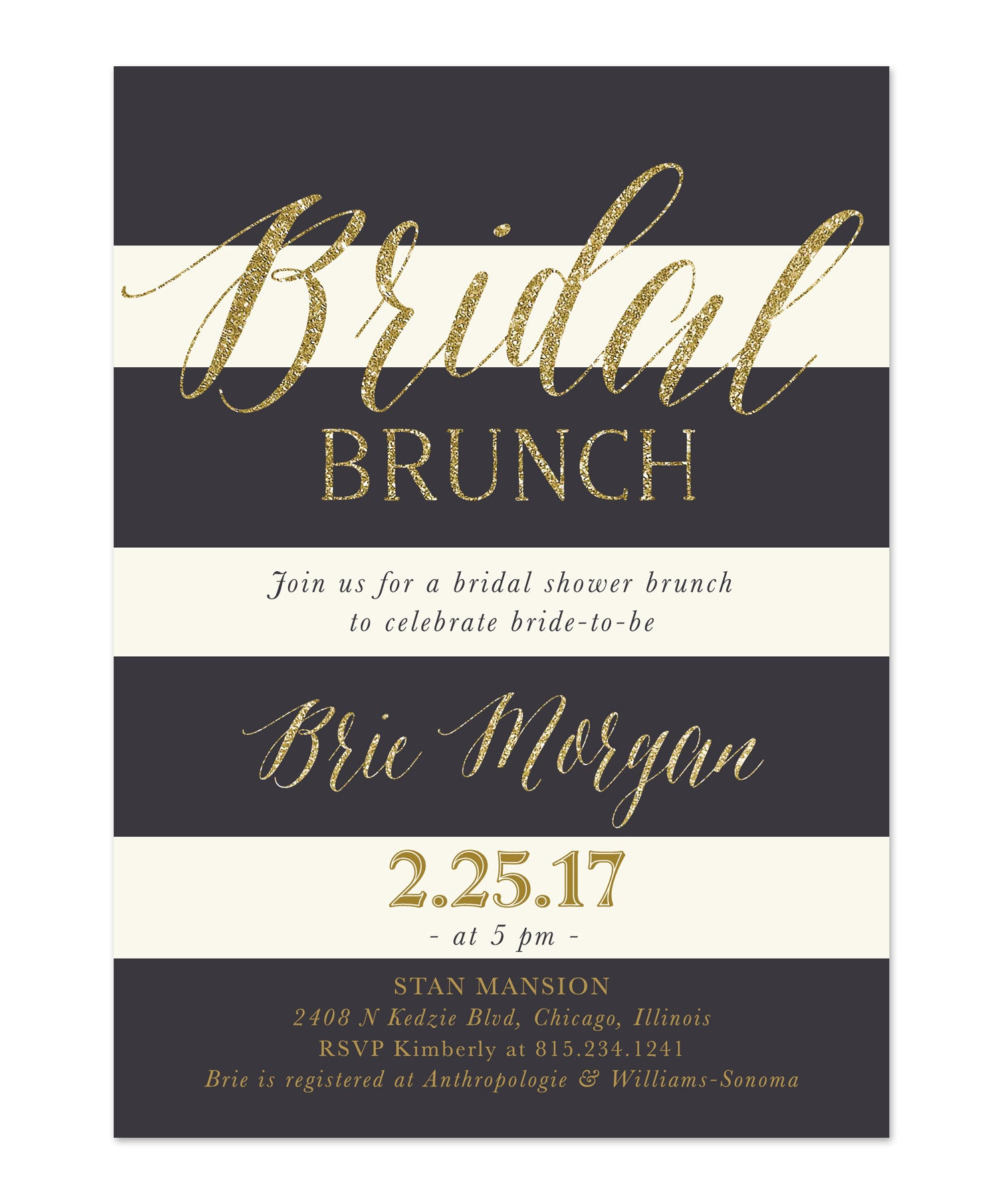 Brie Bridal Shower Brunch Invitation Blush Pink Roses Grey Gold