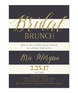 Brie: Bridal Shower Brunch Invitation {Blush Pink Roses, Charcoal Grey & Gold}