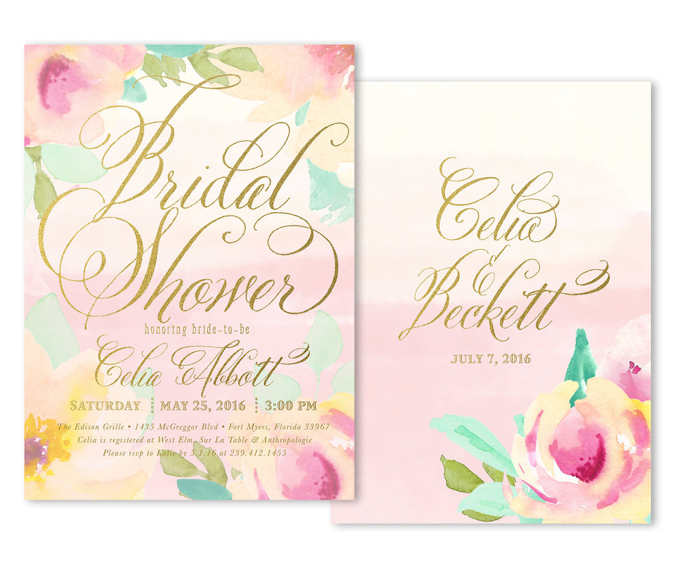 Celia: Bridal Shower Invitation, Watercolor Flowers, Floral Elements, Gold Calligraphy