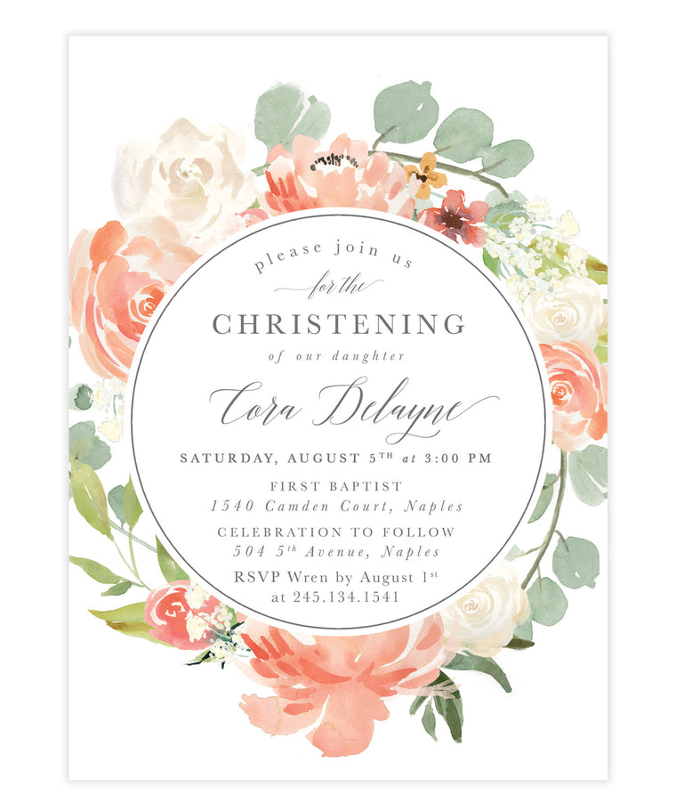 Cora: Girl Christening Invitation, Blush & Peach Garden Florals