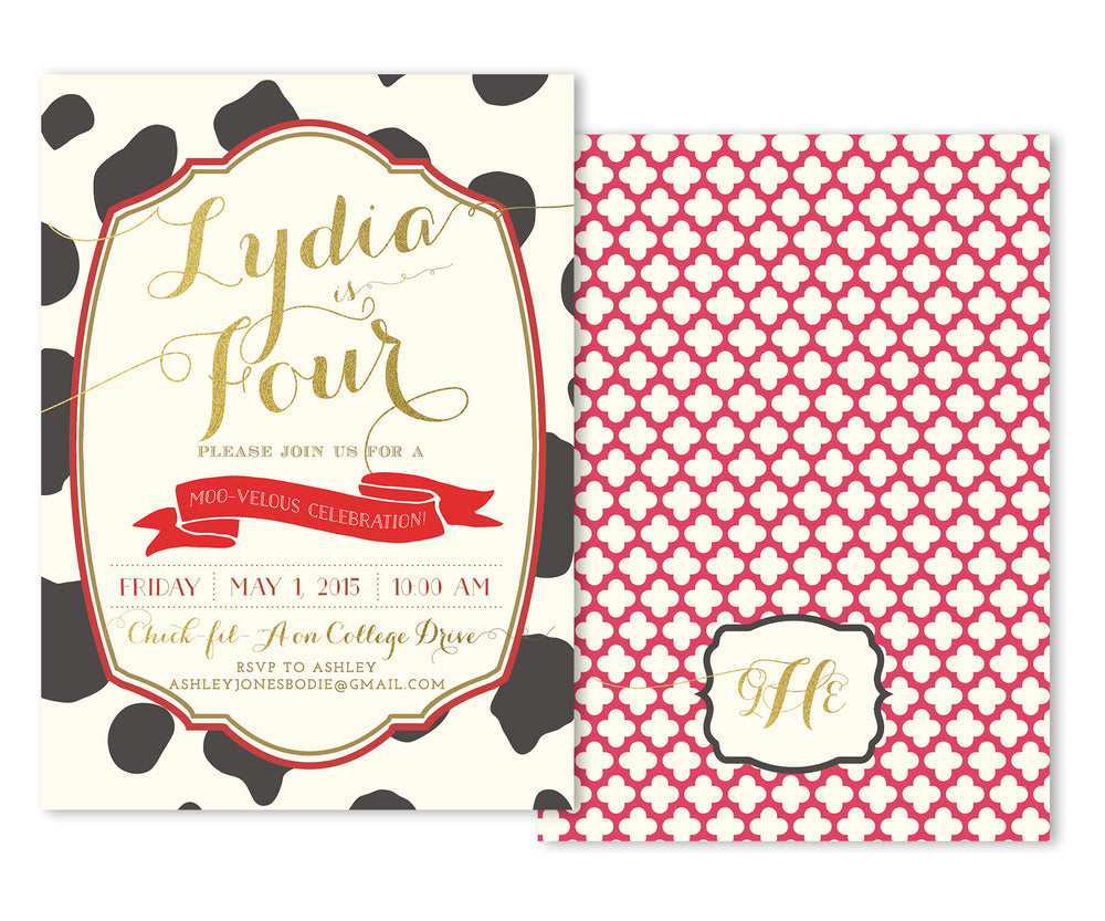 Cowgirl: Birthday Party Invitation, Cow Print, Quatrefoil & Gold. Southern Girl's Invite