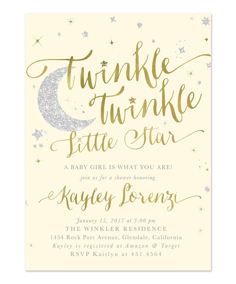 Twinkle Twinkle Little Star Girl or Boy Baby Shower Invitation {Cream, Ivory}