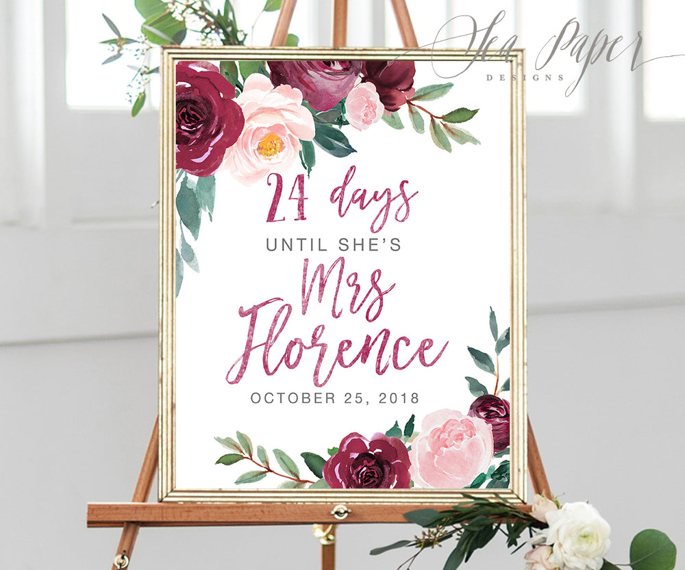 Odette: Days Until Mrs. Sign {Burgundy}