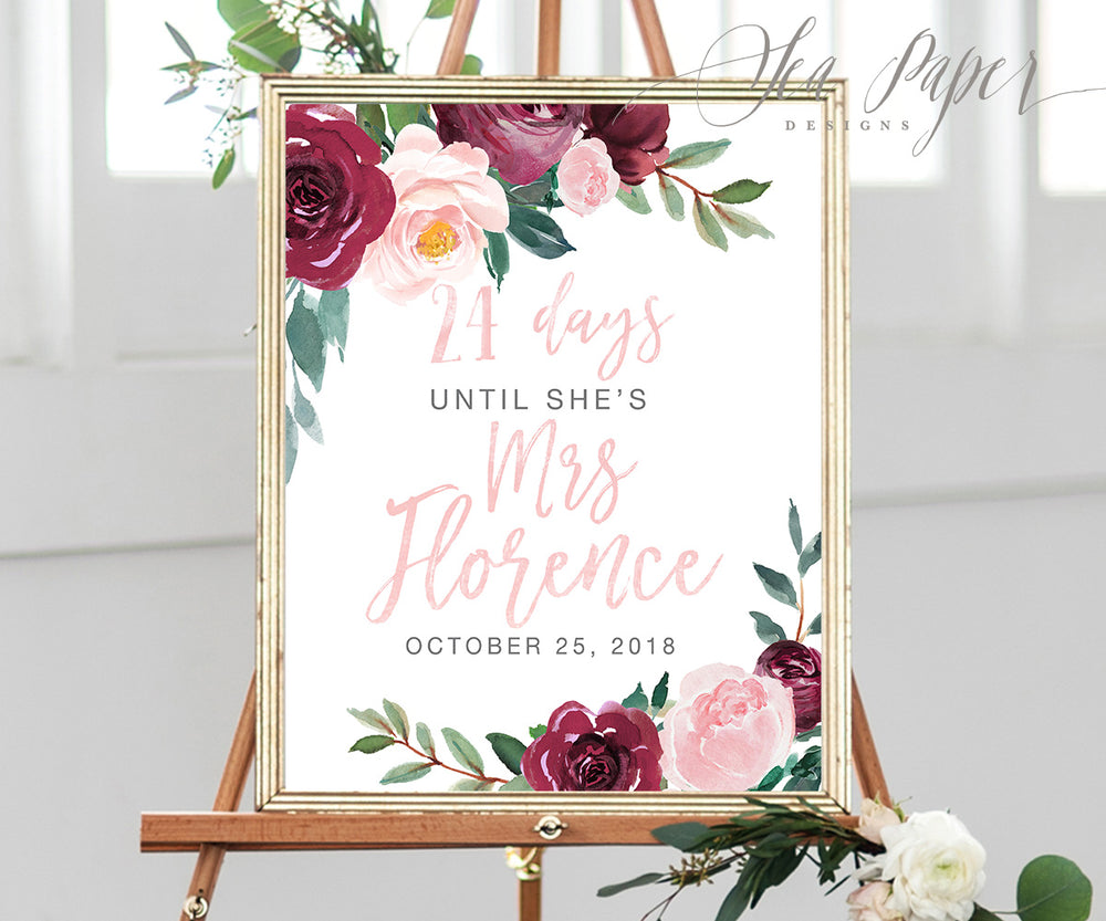 Odette: Days Until Mrs. Sign {Pink}