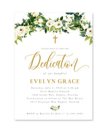 Evelyn: Floral And Greenery Dedication Invitation