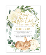 "Deer: ""Little Deer On The Way"" Baby Shower Invitation {White}"