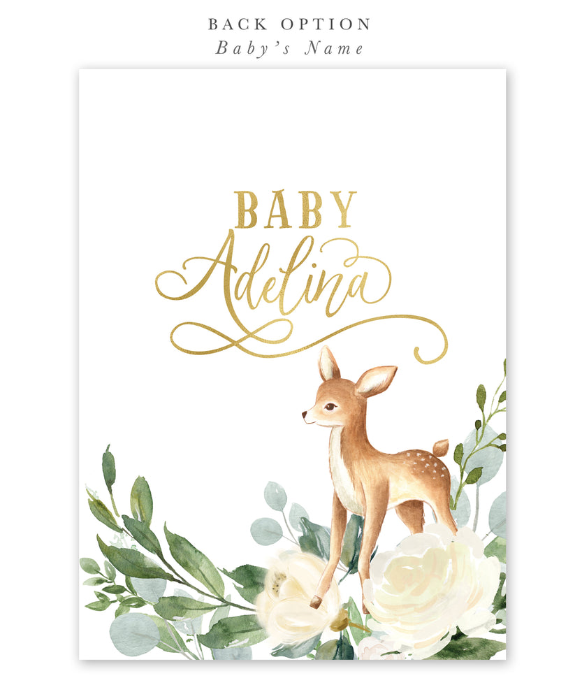 Deer: Woodland Baby Shower Invitation {White}