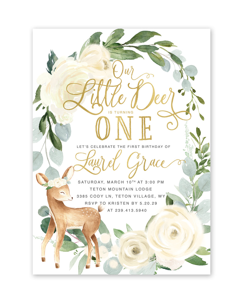 Deer: Woodland First Birthday Invitation {White}