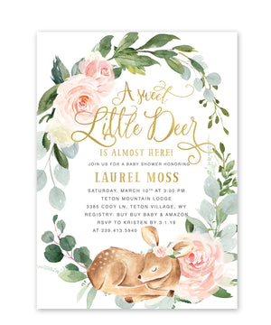 "Deer: ""Little Deer On The Way"" Girl Baby Shower Invitation {White}"