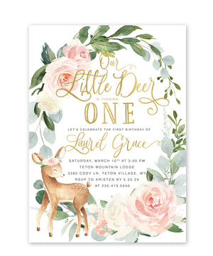 Deer: Woodland Girl First Birthday Invitation {White}