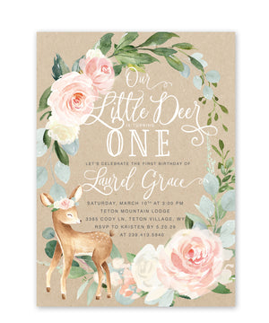 Deer: Little Deer Girl Birthday Invitation {Kraft}