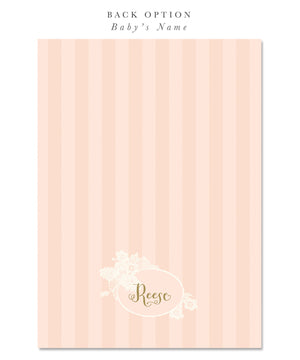 Ella: First Communion Invitation for Girls. Shabby Chic Pink, Lace, Gold Script