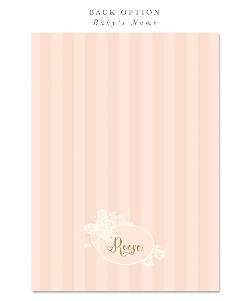 Ella: Dedication invitation for Girls. Shabby Chic Pink, Lace, Gold Script