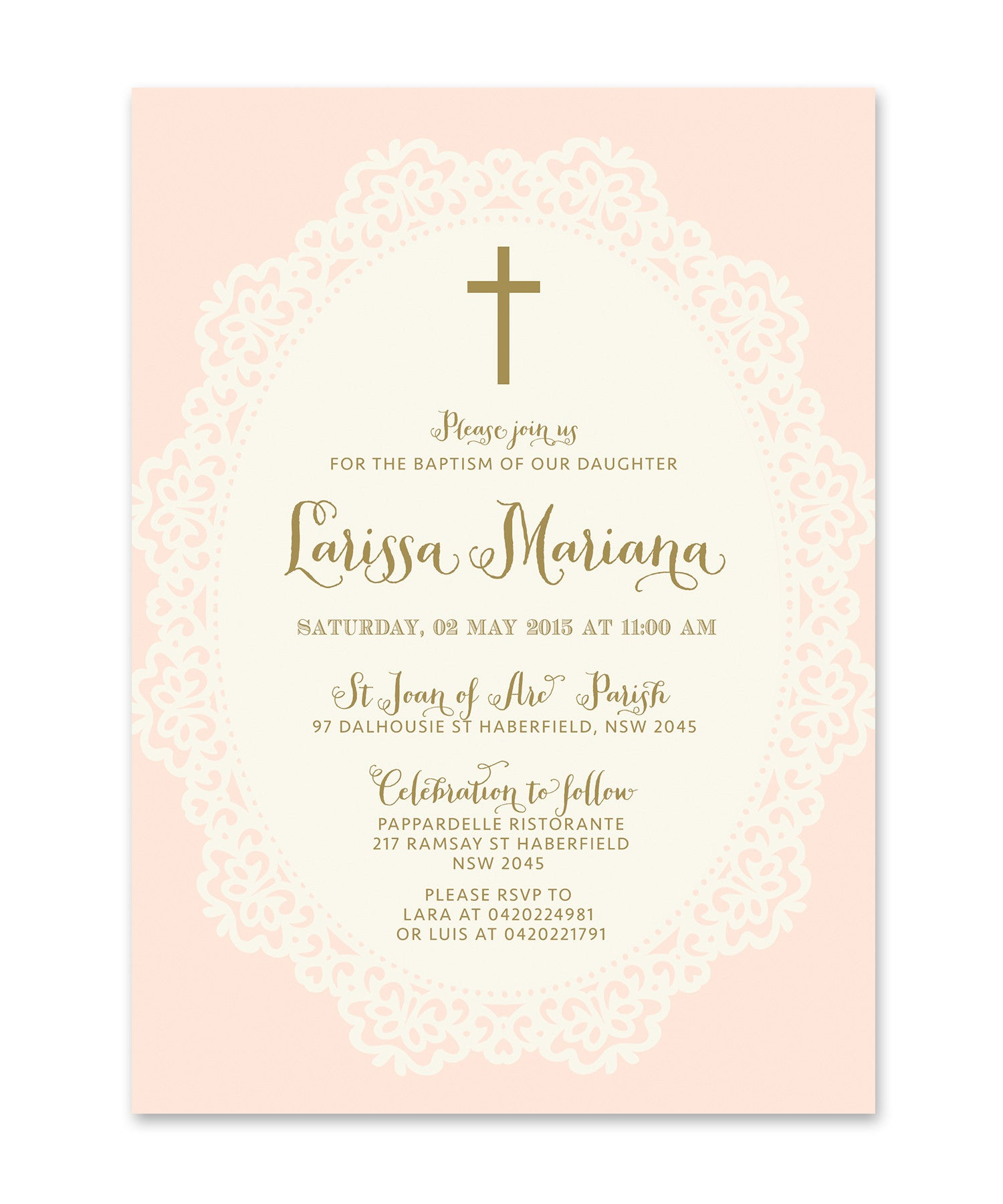 ella baptism invitation for girls shabby chic pink lace gold