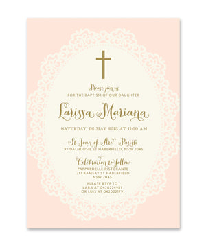 Ella: Baptism invitation for Girls. Shabby Chic Pink, Lace, Gold Script