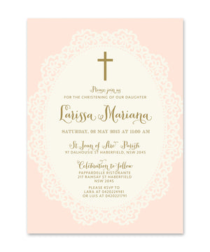 Ella: Christening invitation for Girls. Shabby Chic Pink, Lace, Gold Script