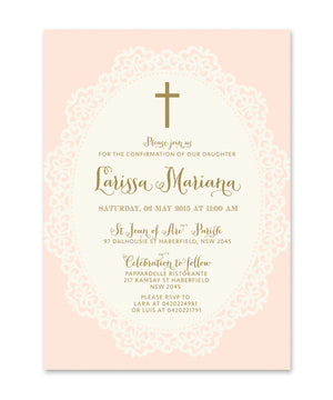Ella: Confirmation invitation for Girls. Shabby Chic Pink, Lace, Gold Script