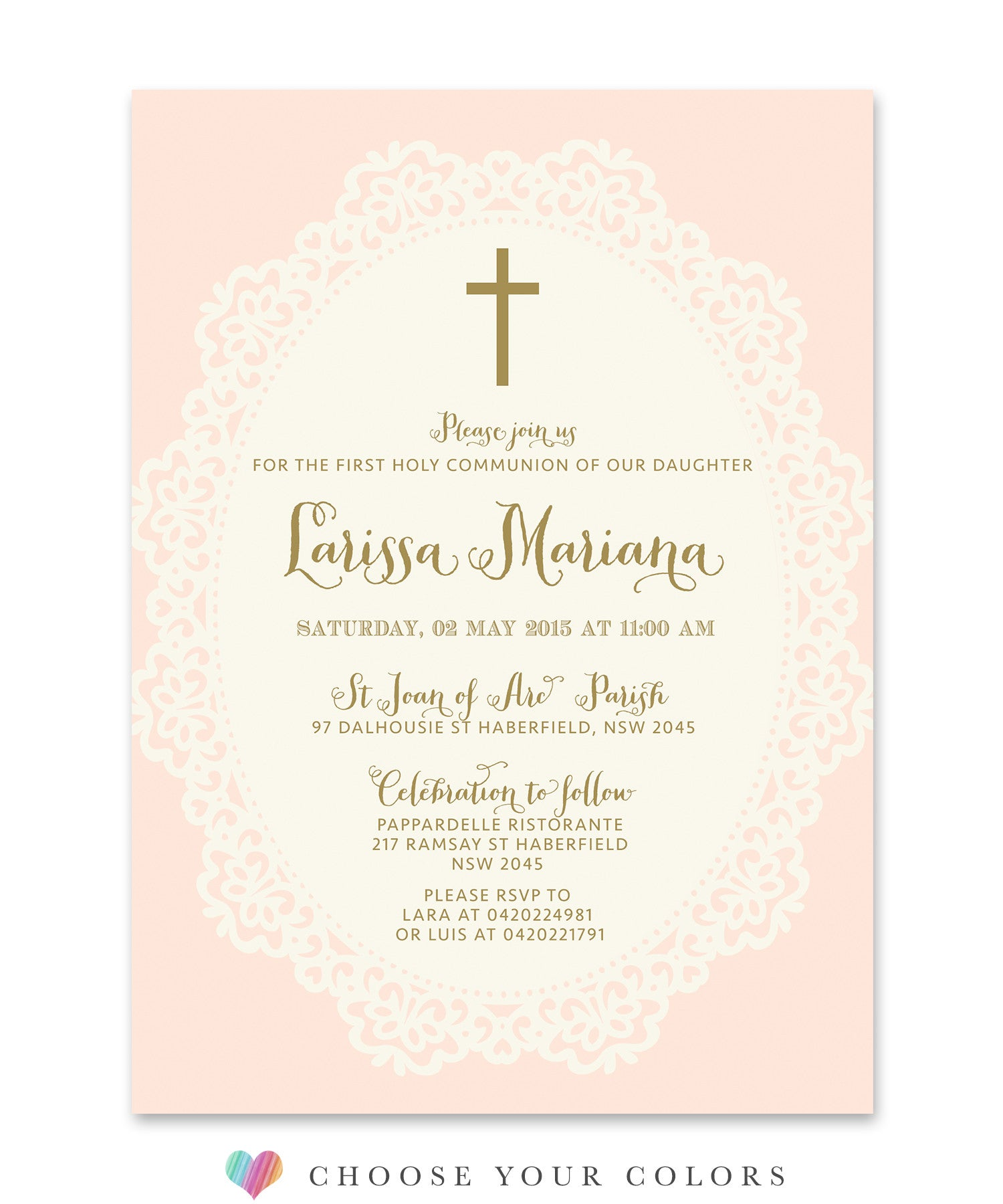 ella first communion invitation for girls shabby chic pink lace