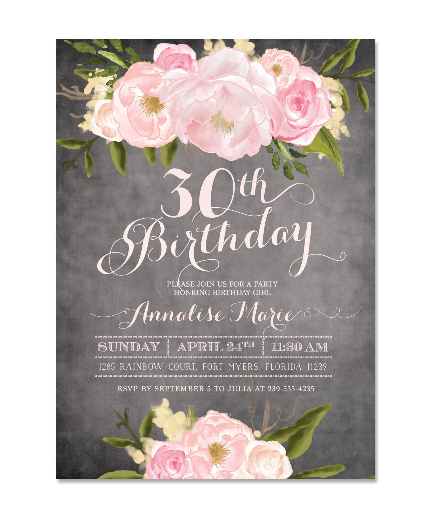 Emily pink peonies roses shabby chic womens milestone birthday emily pink peonies roses shabby chic womens milestone birthday invitation filmwisefo
