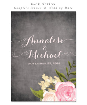 Emily: Bridal Shower Invitation, Pink Peonies, Roses, Chalkboard, Shabby Chic