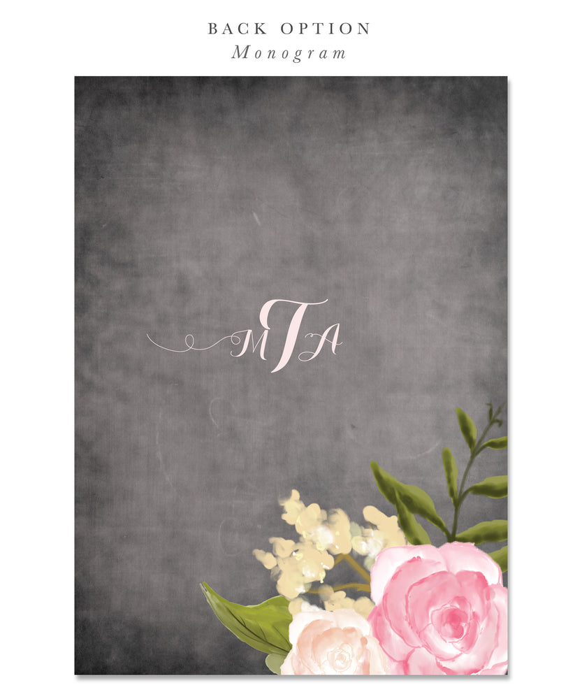 Emily: Shabby Chic Baptism Invitation Chalkboard with Pink Peonies & Roses