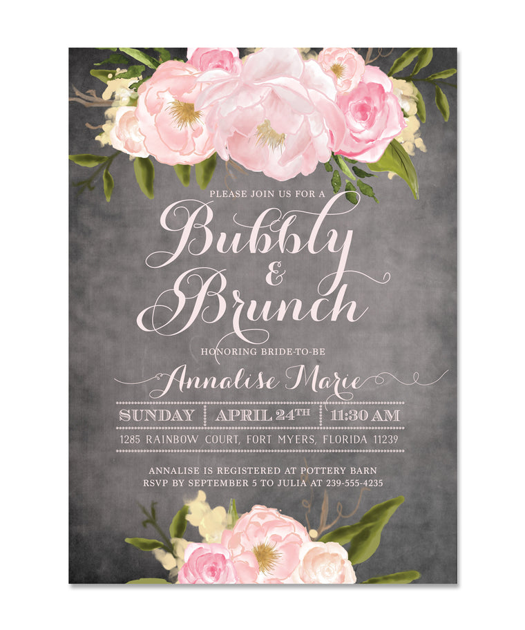 The Emily Bubbly & Brunch Invitation, Champagne Brunch Chalkboard Pink Roses & Peonies