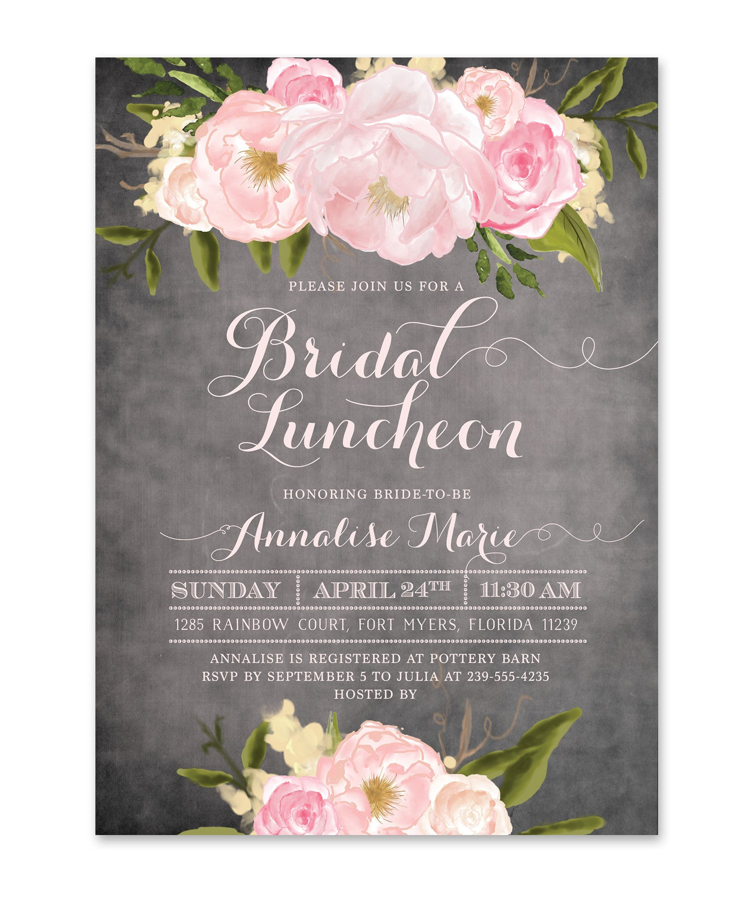 emily bridal shower luncheon invitation chalkboard pink roses