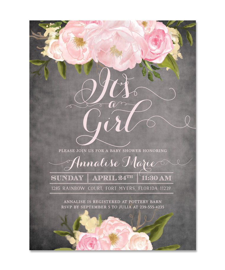 Emily: It's a Girl Invitation / Chalkboard, Pink Roses & Peonies, Shabby Chic